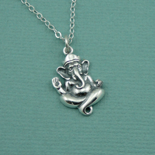 Ganesha Elephant Necklace , sterling silver om jewelry , yoga jewelry