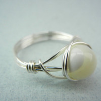 Mother of Pearl Ring - Silver Wire Ring - Custom Size Ring