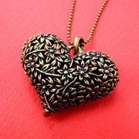 Floral Heart Shaped Pendant and Necklace in Bronze