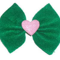 Green Felt Hair Bow with Pink Heart Center
