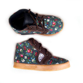 Children's shoes flowers handmade teenager green canvas Rangkayo casual sneakers Preorder