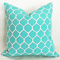 Geometric Turquoise Blue  Patio Pillows by PillowThrowDecor