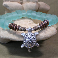Sea Glass Bracelet - Sea Turtle Bracelet - Beaded Bracelet - Stretch Bracelet - Tribal Bracelet - Native Bracelet