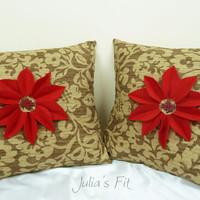 Red Daisy Throw Pillow Set of Two (2) with Inserts