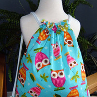 Child Drawstring Backpack - owls blue pink orange girls kid toddler children lightweight cotton fabric - Sac  dos pour fillette