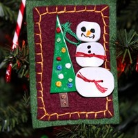 Snowman And Christmas Tree Holiday Hand Made Pin or Brooch