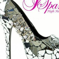 MIRROR GLASS Cinderella CUSTOM HIGH HEEL PUMPS - HANDMADE BY