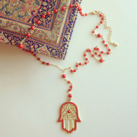 Pree Brulee - Red Beaded Hamsa Necklace