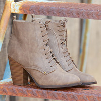 On A Whim Lace Up Booties - Beige