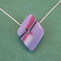 Handmade Colorful Necklace, Color block Jewelry, Modern Diamond Shaped Jewelry, Lavender Jewelry - Lettie - 4663 -4