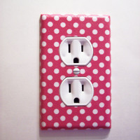 Pink & White Polka Dot Outlet Cover