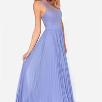 Bariano Lacie Periwinkle Lace Maxi Dress