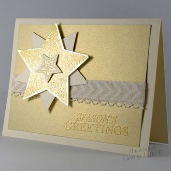 Season's Greetings With Gold Shimmering Stars Handmade Winter Card