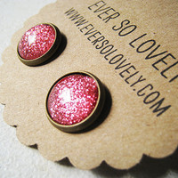 ruby slippers - handmade sparkly pink metallic nickel free post earrings