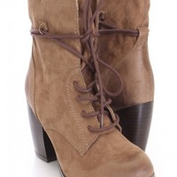 Taupe Lace Up Ankle Booties Faux Suede