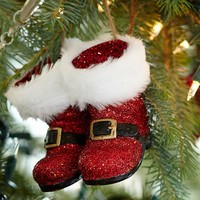 Red Glitter Santa Boots Ornament