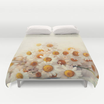 daisies on a stool Duvet Cover by Sylvia Cook Photography
