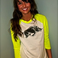 Neon Razorback Raglan in Yellow
