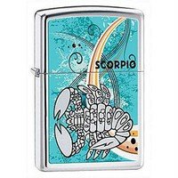 High Polish Chrome, Scorpio Zodiac Astrology Sign, Light Blue Zippo