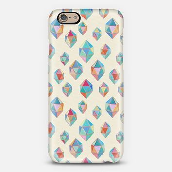 Floating Gems - a pattern of painted polygonal shapes on cream iPhone 6 case by Micklyn Le Feuvre | Casetify