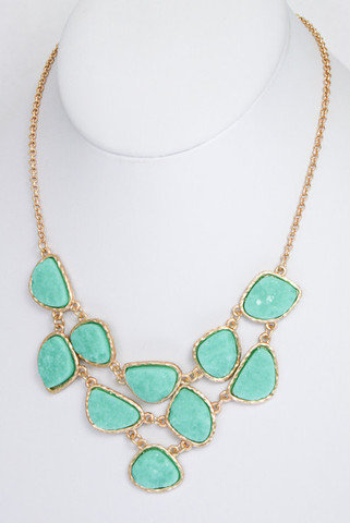 Daytrip Druzy Stone Necklace in Green Turquoise -  $24.00 | Daily Chic Accessories | International Shipping