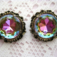 vintage crystal round earrings-antique brass filigree