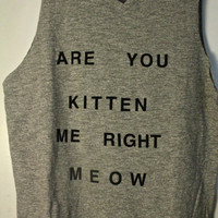 Gray &#x27;Are You Kitten Me Right Meow&#x27; Tank