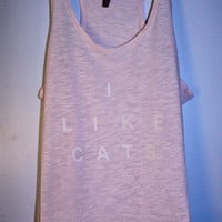 Light Pink 'I Like Cats' Tank