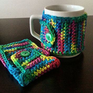 Coffee Mug Cozy in (Green/Blue/Yellow/Pink) Set of Two