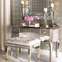 Claudia Mirrored Vanity &amp; Vanity Seat