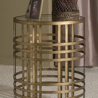InnerSpace Luxury Products Large Barrel Table with Weave and Removable Glass Top