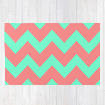 Chevron Coral Red Mint Green Area & Throw Rug by Beautiful Homes