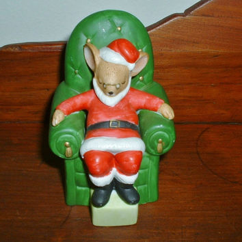 Enesco Christmas Mouse Sleeping in Santa Suit 1983