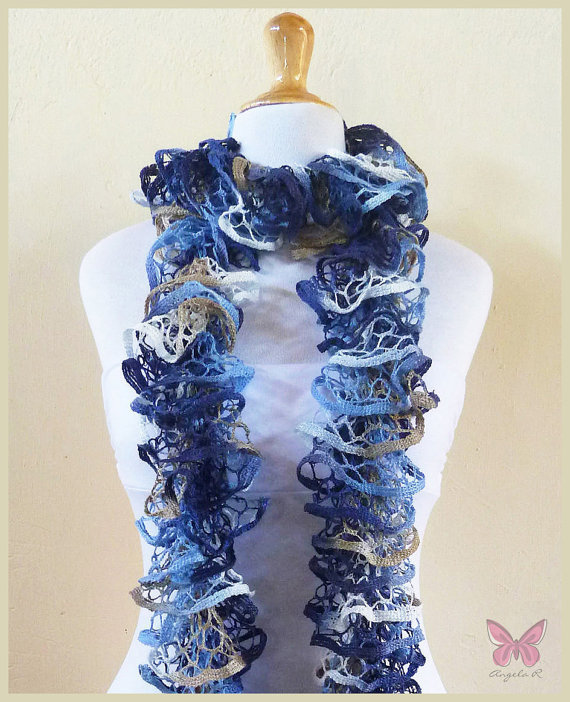 Free Knitting Pattern For Spiral Scarves : Knit Scarf FADED JEANS - Ruffled Lace from OriginalDesignsByAR on