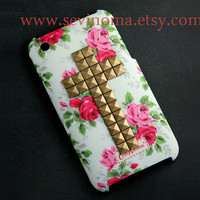 iphone 3gs case, Studded cross iPhone 3G case, iphone 3GS case, White Pink  Flower Rose, Vintage style, contry style