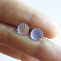 Tiny Matte Seashell Stud Post Earrings Ear Jewelry 7mm 8mm