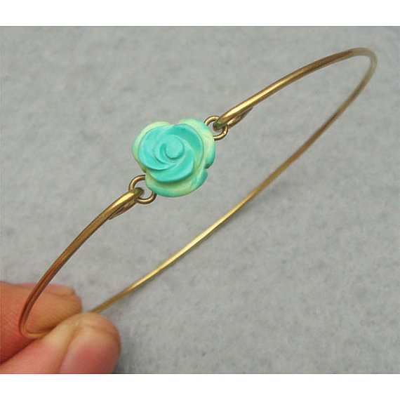 Turquoise Flower Bangle Bracelet