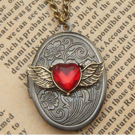 Steampunk WingsLocket Necklace Vintage Style Original Design
