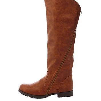 Qupid Zipper-Wrapped Riding Boots by Charlotte Russe - Camel