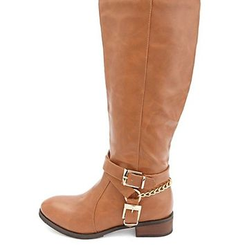Buckled Harness Flat Knee-High Riding Boots - Cognac