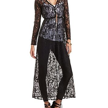 Buttoned Lace Duster Cardigan by Charlotte Russe - Black