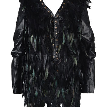 Feather Studded Jacket in Leather Look - Choies.com