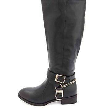 Buckled Harness Flat Knee-High Riding Boots - Black