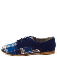 Qupid Plaid Color Block Oxfords by Charlotte Russe - Navy
