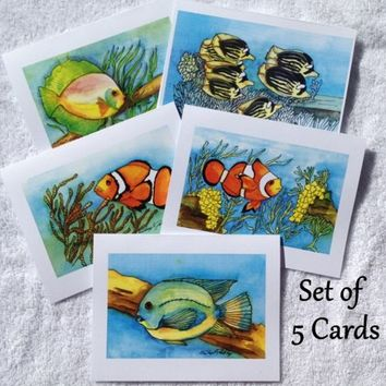 Cards of Fish, Tropical, Prints from Originals, Value Pack of 5 Cards