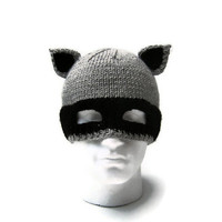 Mens knit hat raccoon balaclava animal ear novelty beanie mask in grey