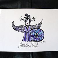 Alternative / Fantasy - Lavender Fairy Snail Blank Greeting Card w / envelope - Recycled Paper - IntricateKnot