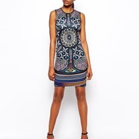 Clover Canyon Neoprene Dress in Stained Glass Print