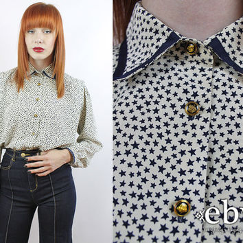 Vintage 90s Star Print Blouse S M L White Blouse Button Up Blouse Longsleeve Blouse Secretary Blouse Button Down Blouse Novelty Print Blouse