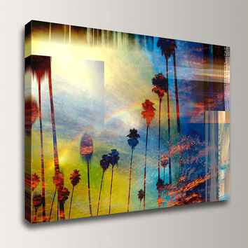 "Palm Tree Art - 24x36 - Canvas Giclee Art Print  - Blue Red Yellow - Modern Wall Decor  "" Palm City """
